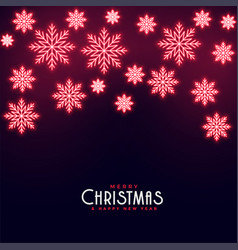 beautiful red neon falling snowflakes merry vector image