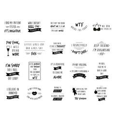 Big set sarcastic slogans quotes vector