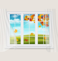 big window with a view of the autumn landscape vector image