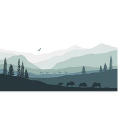 Black silhouette mountain landscape vector