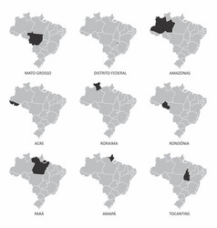 brazil maps set vector image