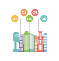 Buildings infographic city presentation vector