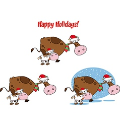 Cartoon christmas cow vector