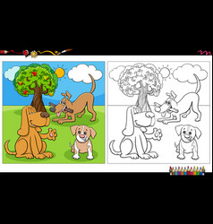 cartoon dogs and puppies group coloring book page vector image