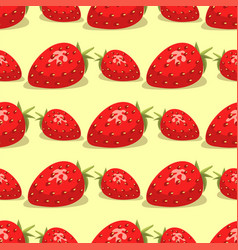 cartoon fresh strawberry fruits seamless pattern vector image