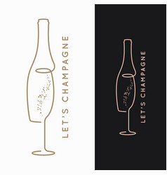 champagne bottle logo glass champagne on black vector image