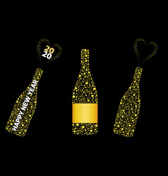 Champagne bottle with bubbles explosion wine vector