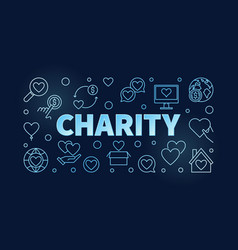 Charity blue horizontal outline vector