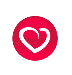 circle with heart symbol icon logo element vector image