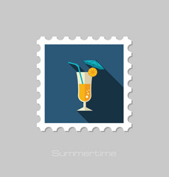Cocktail stamp summer vacation vector