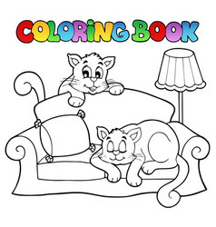 coloring book sofa with two cats vector image