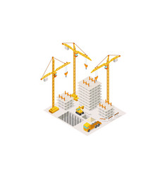 construction building a house isometric lifting vector image