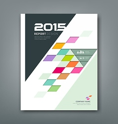 Cover annual report colorful square pattern bevel vector