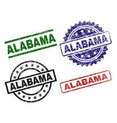 damaged textured alabama seal stamps vector image