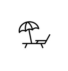 Deckchair with umbrella icon thin line black vector