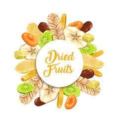 Dried fruits vegetarian dessert shop round banner vector