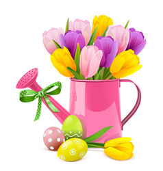 easter concept with pink watering can vector image
