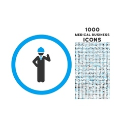 Engineer Rounded Icon with 1000 Bonus Icons vector image