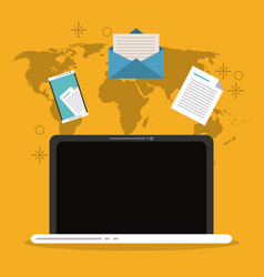 Envelope document smartphone laptop map email icon vector