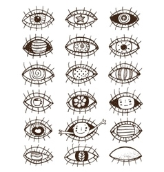 Eyes sketchy hand drawn outline collection on vector image