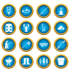 fishing tools icons blue circle set vector image