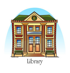 Flat public library building in thin line vector