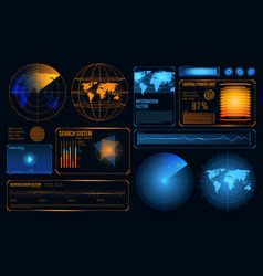 Futuristic radar interface composition vector