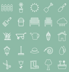 Gardening line icons on green background vector image