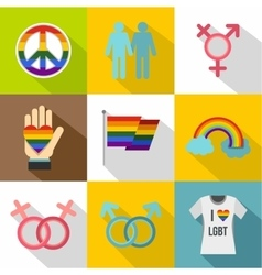 Gays and lesbians icons set flat style vector