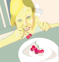 Girl eating cherry vector