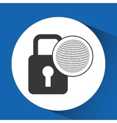 globe binary concept padlock security vector image