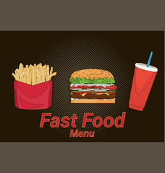 Hamburger french fries cola street festival fast vector