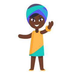 happy little afro-american girl in yellow dress vector image