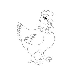 hen outline cartoon character design isolated on vector image