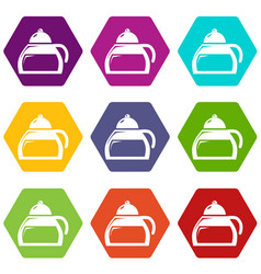honey tea icons set 9 vector image