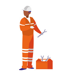 industrial worker with toolbox avatar character vector image