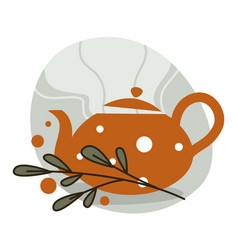 kettle with hot herbal tea mint leaves vector image