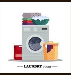 laundry room with washing machine powder basket vector image