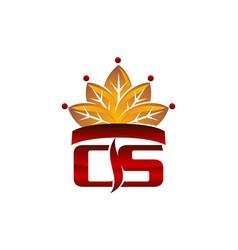 letter cs cigarette crown vector image