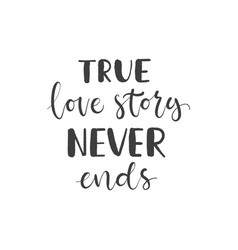 lettering with phrase true love story never ends vector image
