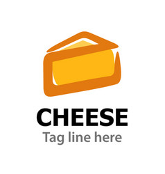logo emblem with cheese isolated on white vector image