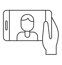 man take selfie phone icon outline style vector image