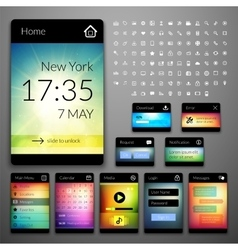Mobile interface elements with colorful wallpaper vector