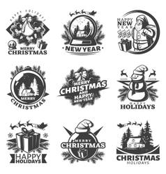 Monochrome Christmas Labels Set vector
