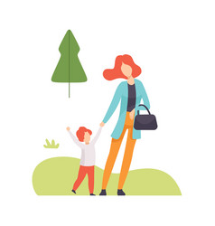 mother and her son walking in summer park young vector image