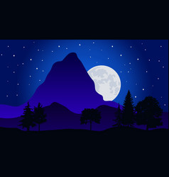 Night time nature landscape vector