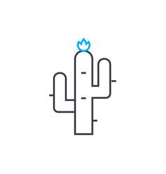north american cactus linear icon concept north vector image