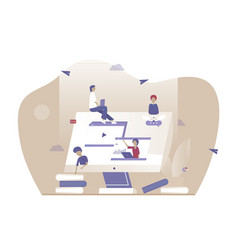 online work with other people distance job vector image