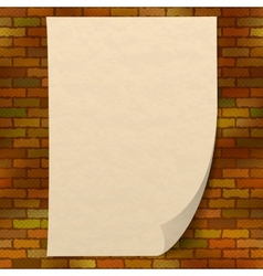 Paper sheet on brick wall vector image
