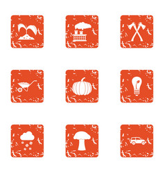 Peasant farm icons set grunge style vector